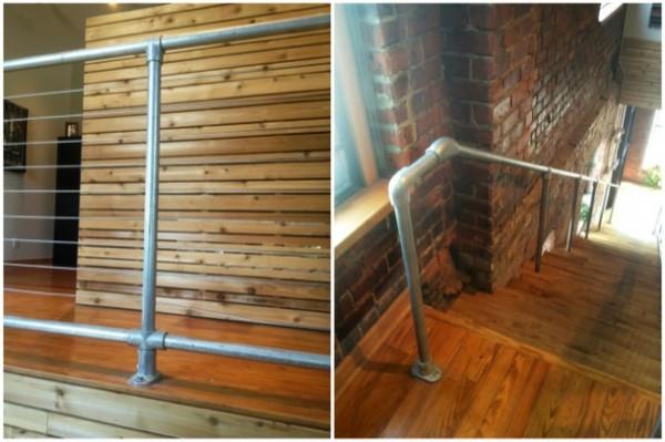 Rohrverbinder Geländer mit Stahlseilen