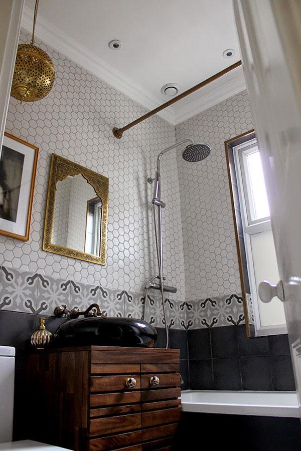 badezimmer Duschstange Industriedesign