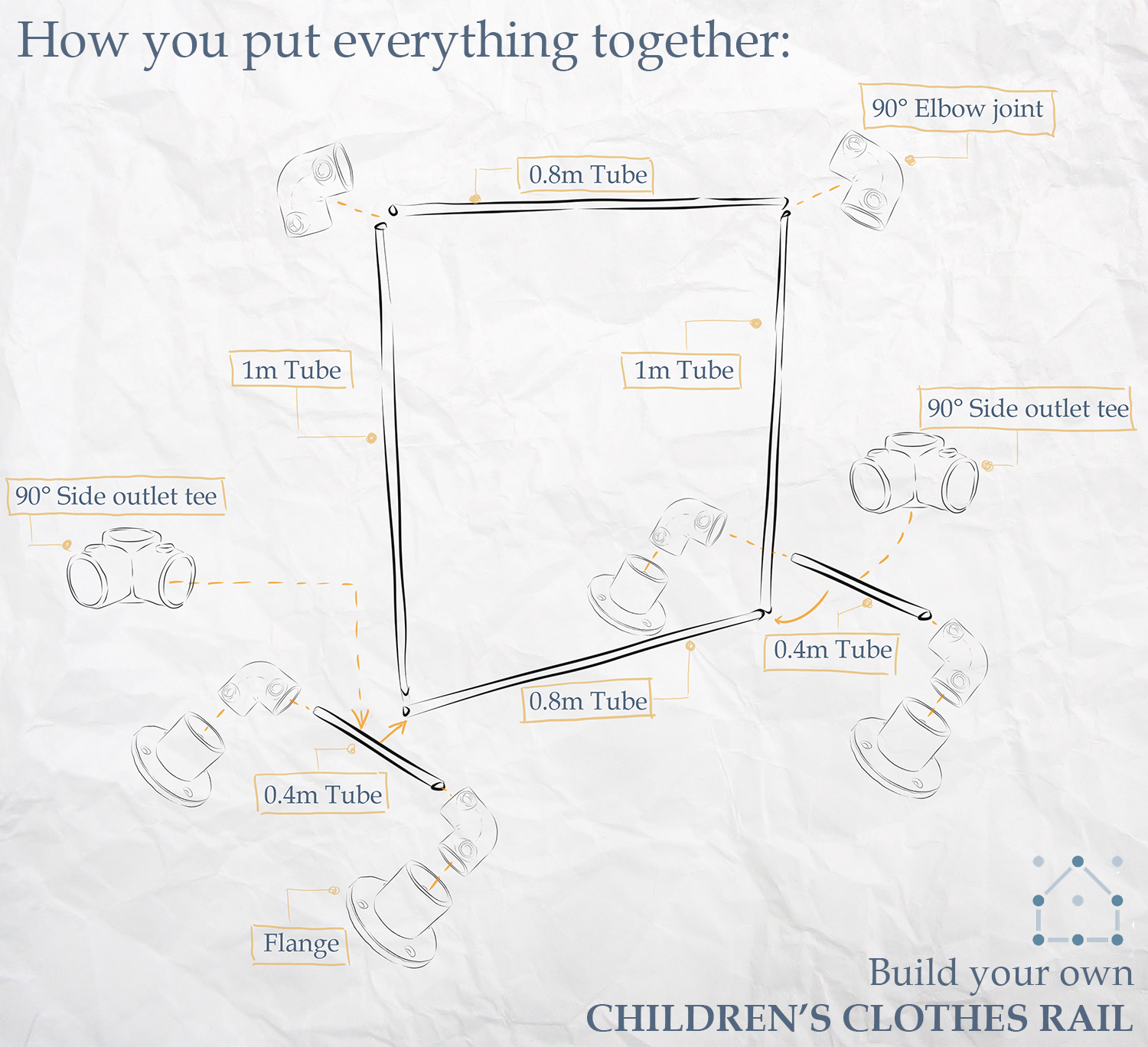 DIY children's clothing rail step-by-step instructions