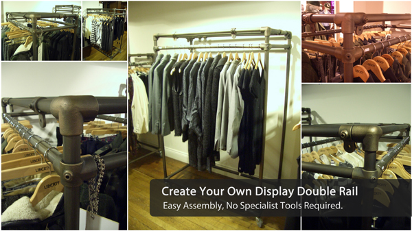 DIY clothing double rail display stand