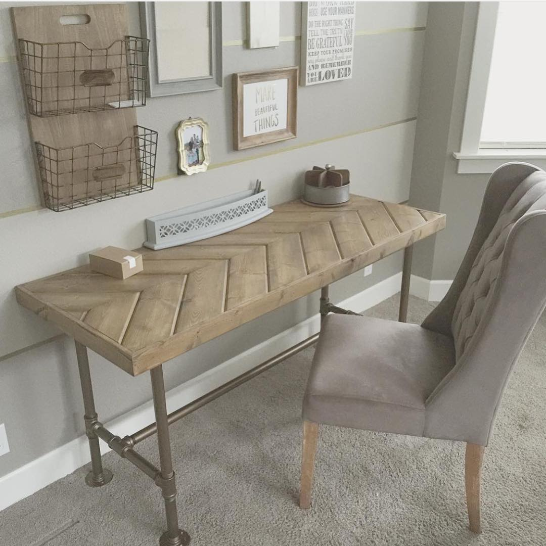 Neutral decor home office pipe tube