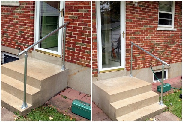 Installing your own diy easy install simple handrail simplified outdoor stair handrail solutioingenieria Images