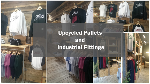 Industrial fittings, tube and upcycled Pallets