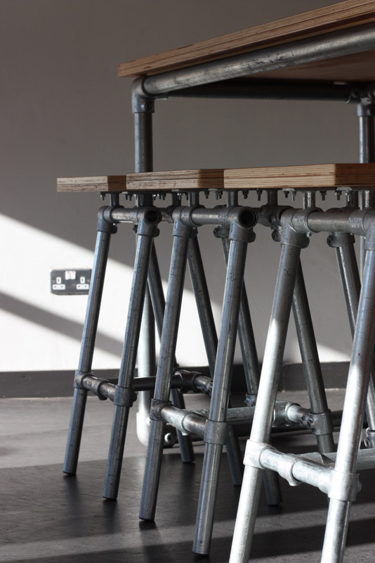 : Industrial Stools Benches and Tables at Famous Dublin Coffee Bar