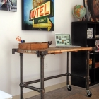 Rolling Pipe Table with Antiqued Metal Effect