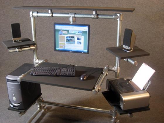 diy adjustable computer desk video. Black Bedroom Furniture Sets. Home Design Ideas
