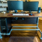 Wood Paneled Industrial Pipe Desk