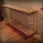 Industrial Console Table Built with Barn Board and Pipe