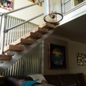 Modern Railing for a Rustic Home Stairway Remodel