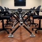 Modern Pipe and Glass Conference Table