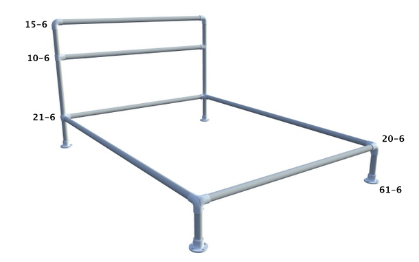 Pipe Bed Frame with Fittings Labeled